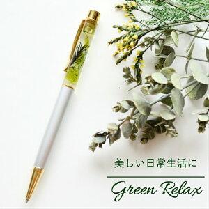 ハーバリウムペン ハーバリウムボールペン 本体 シルバー ボタニカル 2000円 シンプル リラックス プチギフト ボールペン 緑 シンプルモダン 上品 さわやか ハーバリウム 文具 グリーン 誕生