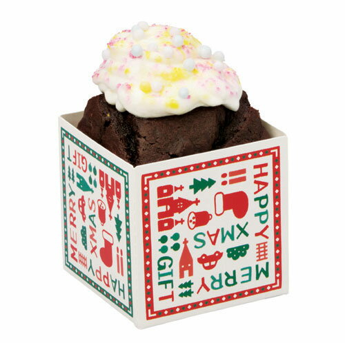 クリスマス2017 XB02 キューブカップ60 (クリスマスギフト) 100枚パウンドケーキ・パウンドトレー・ベーキングトレー・紙製・パウンド型・お菓子・手作り・製菓用品