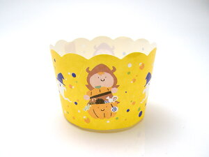 HALLOWEEN NB398 100枚 ハロウィーンミニカップ イエロー マフィンカップ・マフィン型・ベーキングカップ・紙製・焼型・ケーキカップ・ギフト・プレゼント・お菓子・手作り・製菓用品