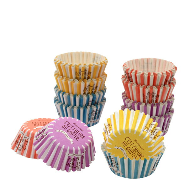 NK03 ペットカップ底径50mmストライプ アソート 128枚 4色×32枚ベーキングカップ ケーキ型 焼型 紙製 お菓子 手作り 製菓用品