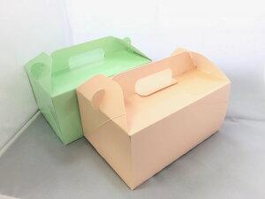 WK0304テイクアウトボックス(ピンク・グリーン)アソート 50枚 マフィンをはじめ、ケーキ、手作りプリンなどのプレゼントにもピッタリです。約60mmφのカップマフィンが6個入ります。