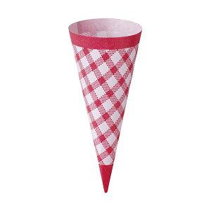 コーンスリーブ (ピンクチェック) 100枚入 アイスクリーム , ソフトクリーム , 使い捨て SV142-100