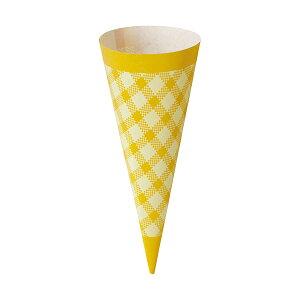 コーンスリーブ (イエローチェック) 100枚入 アイスクリーム , ソフトクリーム , 使い捨て SV143-100