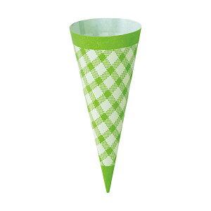 コーンスリーブ (グリーンチェック) 100枚入 アイスクリーム , ソフトクリーム , 使い捨て SV144-100