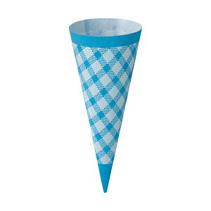 コーンスリーブ (ブルーチェック) 100枚入 アイスクリーム , ソフトクリーム , 使い捨て SV145-100