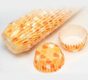 ペットカップ 丸型 5.0cm×高さ3.0cm(オレンジハート) 300枚入 T04-300