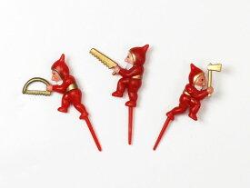 ケーキピック (森の小人) 3個入 アソート プラスチック ケーキ飾り , ケーキオーナメント , ケーキトッパー YK06AS-3