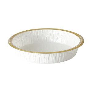 エコライト M丸型(白/フランジ金) 25枚入 タルト型 12cm 15cm , ホールケーキ型 , スポンジケーキ EL11-25