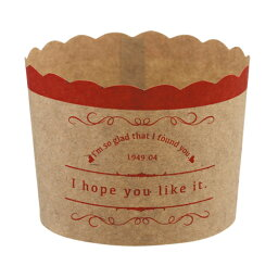 31-858瑪芬茶杯M復古的(紅)4張裝的烘烤茶杯紙製焼型蛋糕茶杯禮物給的禮物點心製作製造糕點用品情人節百元店