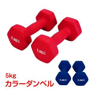 【365日保証】 スポーツ フィットネス トレーニング スポーツ器具 ダンベル 5kg 2個セット カラー トレーニング 筋トレ 男性 女性 鉄アレイ ブルー レッド de094
