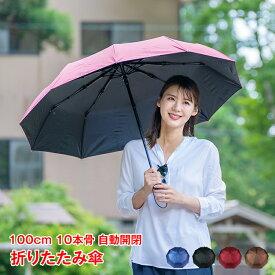 折りたたみ傘 自動開閉 メンズ 風に強い 大きい 超軽量 折り畳み傘 レディース 10本骨 100cm ワンタッチ 傘 かさ 耐風 丈夫 シンプル ビジネス ny005
