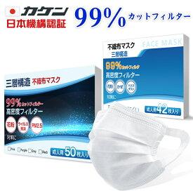 *即納* 99% カットフィルター 箱 付き メルトブローン式 不在配達可能  マスク 51枚 入り 使い捨て メルトブローン 不織布 男女兼用 ウィルス対策 ますく ウイルス 防塵 花粉 飛沫感染対策 ny263