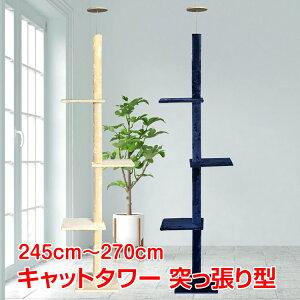 【365日保証】 キャットタワー 突っ張り おしゃれ スリム 安定感 270cm つっぱり 大型 猫タワー ねこ pt031