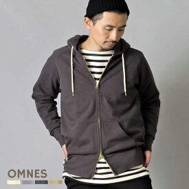 メンズ パーカー スウェット 【OMNES】裏起毛スウェットダブルジップパーカー 長袖 ジップアップパーカー カジュアル