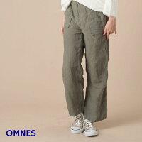 【OMNES】リネンベイカーパンツ全2色レディースボトムスMサイズ/Lサイズリネンパンツ麻リネン100%カジュアルベージュカーキ