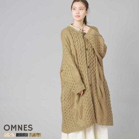 レディース ニットウェア フリーサイズ 【OMNES】ざっくりケーブル編みロングニットカーディガン 長袖 ケーブル編み トップス