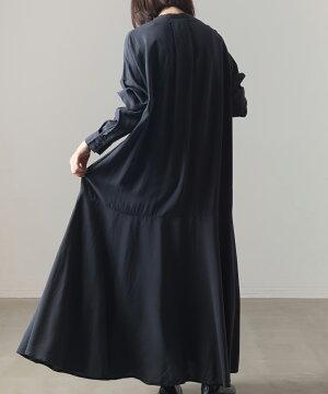 【OMNES】レーヨン裾フレアワンピースレディースロングワンピースマキシ丈ロング丈長袖カジュアルフリーサイズ