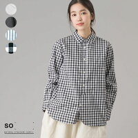 [SO]エスオータイプライターラウンドカラーシャツレディーストップスナチュラル綿100コットン100ギンガムチェックストライプホワイトブラックHAPTICハプティック