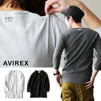 AVIREX [avirex] 7 套 U 脖子衬衣娘子军水稻材料 (男式女式内固体 7 袖白黑灰炭)