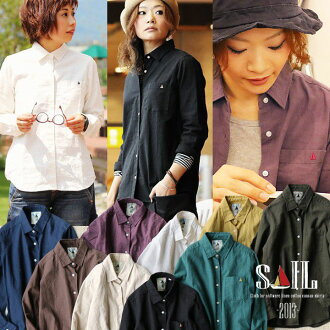 SAIL [sail] made in Japan long sleeves, plain t-shirt tip soft linen Oxford fabric ( 4 colors women's solid color shirts cotton hemp cotton linen White Navy Brown kinari White Navy Blue tea )