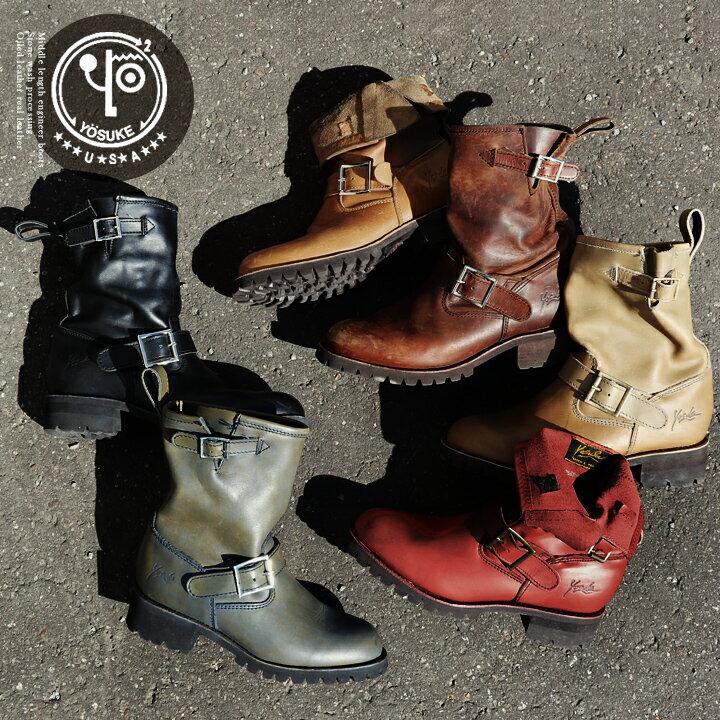 【送料無料】YOSUKE U.S.A[ヨースケ ユーエスエー]エンジニアブーツ 本革 ショート ミドル ブーツ レザー レディース 厚底 ブラック ブラウン|エンジニア 黒 赤 折り返し ヒール ショートブーツ 靴 シューズ 大人 大きいサイズ 軽量 茶 40代 50代