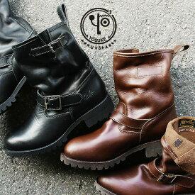 エンジニアブーツ 本革 ショート ミドル ブーツ レザー レディース 厚底 ブラック ブラウン エンジニア 黒 茶 折り返し ヒール ショートブーツ 靴 大人カジュアル 大きい 軽い 茶 冬靴 メンズライク PATY YOSUKE U.S.A ヨースケ ユーエスエー