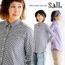 【A-定番系SAIL】シャツ 長袖 レギュラーカラー ギンガム チェック プルオーバー風 日本製 綿100% ワンポイント 刺繍…