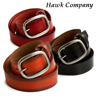 ホークカンパニー(HAWK COMPANY)  レザー ベルト グラデーション ソフト カウレザー バックル 取り外し 調整可能