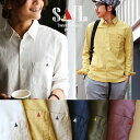 【送料無料】SAIL[セイル]長袖 日本製 無地 シャツ ワンポイント ソフトリネン コットンオックス 生地 メンズ レディース 綿 麻 ホワイト ネイビー 紺 オリーブ 白 大きいサイズ 大きめ|カ