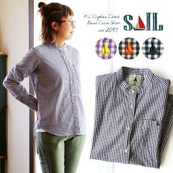 シャツ 長袖 トップス バンドカラー ギンガム チェック 配色 ワンポイント 刺繍 プルオーバー風 薄手 ブロード