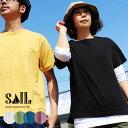 Tシャツ 半袖 半袖Tシャツ 無地Tシャツ 無地ティーシャツ 半そで バインダーネック 前後アシメ着丈 綿100% ワッペン メンズ レディース…
