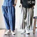 【送料無料】 ICHI [イチ] アンクル丈 太ストライプ パンツ コットンリネン 素材 吸水 速乾 ウエストゴム カジュアル …