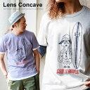 【全国一律送料324円】 Lens Concave [レンズコンケイブ] 半袖 Tシャツ 【パグ サーフ 柄】発泡 プリント トライブレンド 素材 重ね着 一枚...