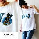 【送料無料】 Johnbull [ジョンブル] 半袖 Tシャツ 【NAVY】ロゴ プリント トラ 刺繍 ワッペン デザイン 綿100% カジュアル レディース 女性 女性用 夏 夏物 アウトドア フェ