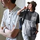 【送料無料】 半袖 シャツ クレイジー パッチワーク 切り替え デザイン 麻 リネン 100% 吸水 速乾 涼しい カジュアル メンズ レディース 夏 夏物
