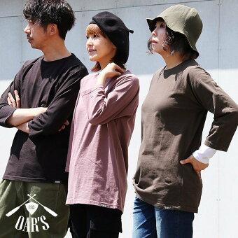 オールズ(OAR'S) Tシャツ ティーシャツ カットソー 七分袖 7分袖 ラグラン 褪せ色 活性染め ウォッシュ加工 米綿 綿100%