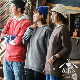 オールズ(OAR'S) オールズ() トレーナー スウェット 7分袖 七分袖 裏毛 USAコットン 米綿 綿100% ヘビーウェイト