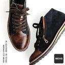 【送料無料】 ミドルカット ブーツ PUレザー × PUスウェード 配色 切り替え サイドジップ ネイビー メンズ スニーカー メンズシューズ…