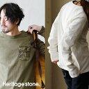 【送料無料】 Heritagestone [ヘリテイジ ストーン] カットソー Tシャツ レイヤードカットソー 長袖 ロングスリーブ 半袖 サーマル 重ね着 胸 カモフラ ポケット メンズ レディース