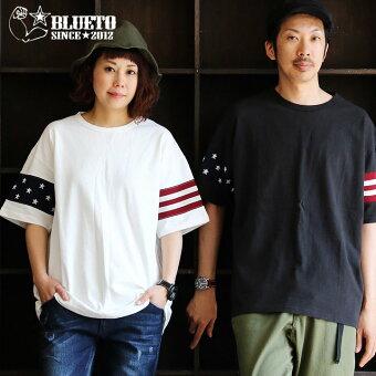 PATY  Tシャツ 半袖 ティーシャツ ワイドシルエット USA コットン 米綿 『袖口 アメリカ国旗 星条旗柄 ニット 切り替え』