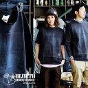 【予約販売】【送料無料】 BLUETO [ブルート] 半袖 クルーネック Tシャツ デニム パッチワーク 貼り付け ネイビー Tee メンズ レディー…