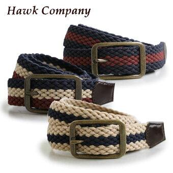 ホークカンパニー(HAWK COMPANY) ストレッチ メッシュ メッシュゴム ベルト カラー配色 レザー切り替え レザー (ホークカンパニー)