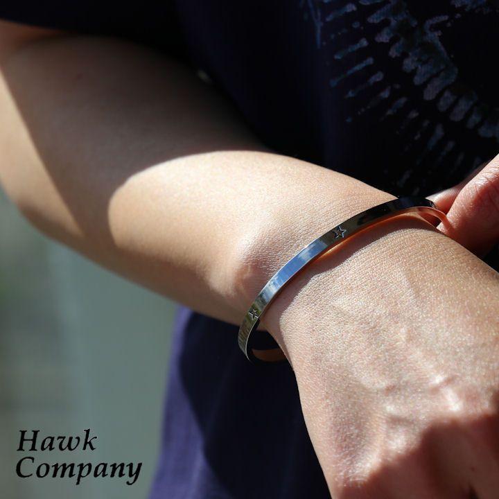 【全国一律送料324円】 HAWK COMPANY [ホークカンパニー] バングル ブレスレット アンティーク加工 真鍮素材 星 スター star 刻印 ブレスレット メンズ レディース アクセサリー オープンタイプ 贈り物 プレゼント 40代 50代