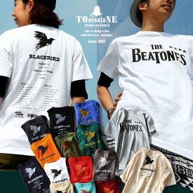 Tシャツ 半袖 丸胴 クルーネック 綿100% 『THE BEATONES BLACK BIRD』 メンズ レディース 重ね着 インナー カットソー カジュアル | コットン 綿 プリント プリントtシャツ 半袖tシャツ 40代 50代 TOneontoNE [トーン]