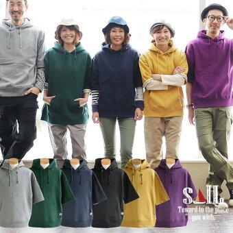 (セイル) SAIL  パーカー プルオーバー 5分袖 半袖 肉厚 裏毛 スウェット 綿100% 袖裏 ロゴテープ