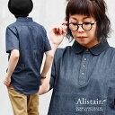 【予約販売】シャツ 半袖 丸襟 プルオーバー デニム ワンポイント 刺繍 綿100% メンズ レディース カジュアル デニム…