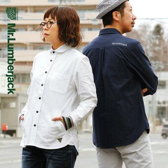 シャツ 長袖 トップス  丸襟 袖ラインリブ 切り替え ワンポイント 刺繍 ポケット スナップボタン