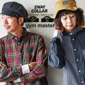 ジムマスター(gymmaster)シャツ 長袖 袖リブ 「折り返すだけで バンドカラー ショールカラー 2WAY」