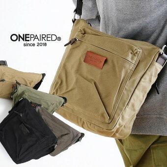 ショルダーバッグ カバン BAG 鞄 ジップ ワンポイント 本革 コットン キャンバス 肩掛け 斜め掛け カジュアル