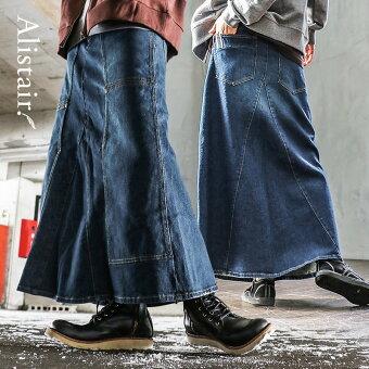 PATY  スカート マキシ丈 フレア ロング ストレッチ デニム リメイク風 「変形 ダブルニー ポケット」